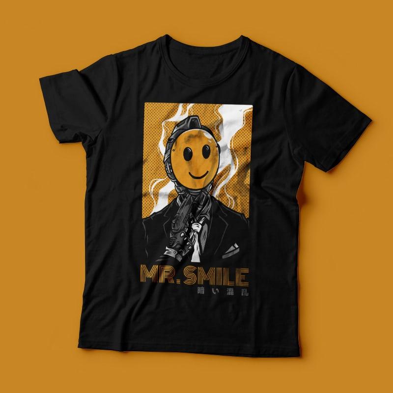 Mr. Smile T-Shirt Design Template tshirt factory
