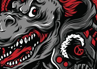 Rise of T-Rex T-Shirt Design Template