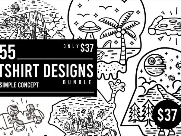55 Tshirt Designs Bundle