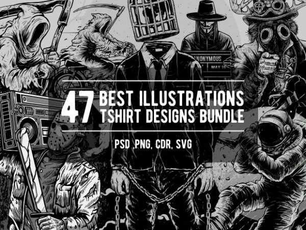 47 Best Illusrations Tshirt Designs Bundle