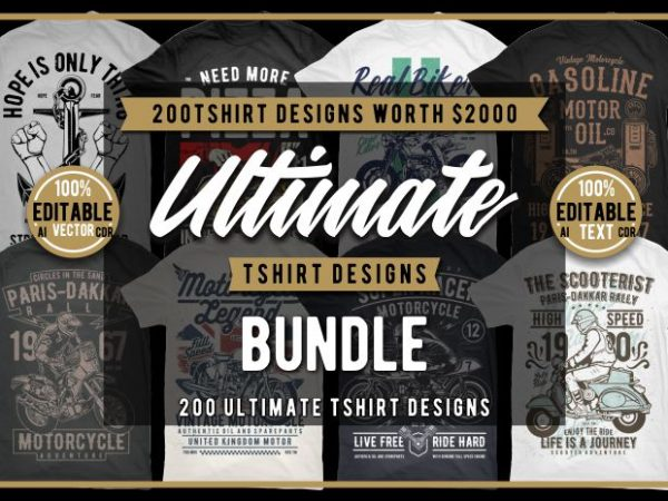 200 Tshirt Ultimate Designs Bundle