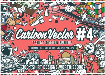 300 cartoon vector tshirt designs bundle #4