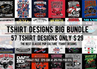 57 Tshirt Retro Pop Culture Designs Bundle