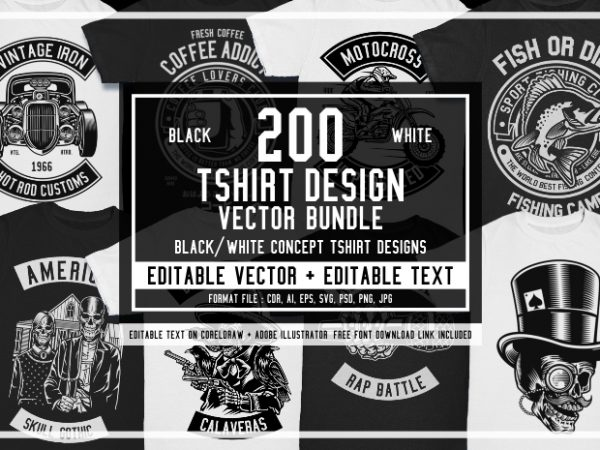 200 Tshirt Design Bundle Black and White Concept #2