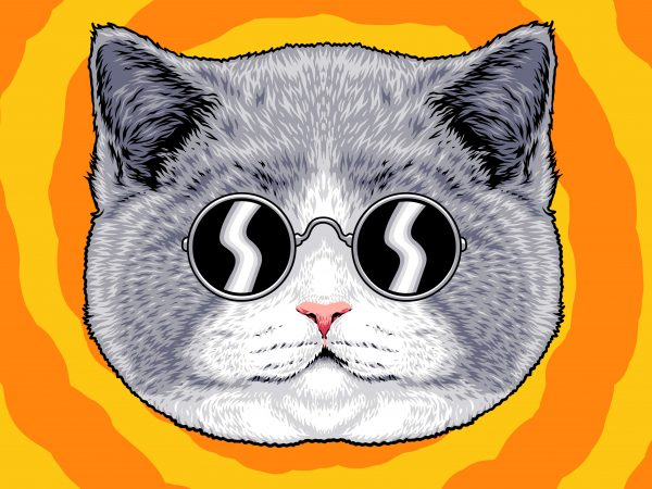 design illustration for t-shirt , cat illustration ,tshirt design