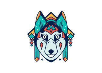Dog Dog pup puppy husky doggy hound abstract geometric geometrical color colorful vector t shirt design