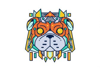 Dog Dog pup puppy bulldog doggy hound abstract geometric geometrical color colorful vector t shirt design