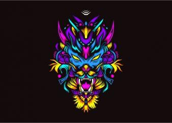 Dragon neza vector t-shirt design template