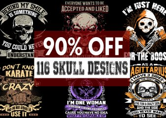 FULL SKULL BUNDLE – 116 SUPER COOL DESIGNS – SUM OF 4 PARTS