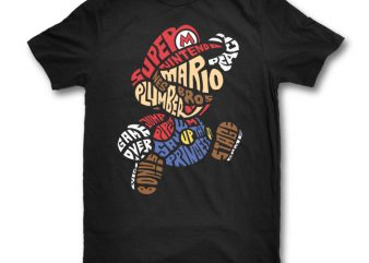 Mario Bros print ready t shirt design
