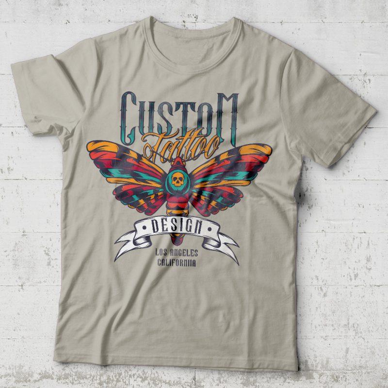 Custom tattoo design. Editable vector t-shirt design. tshirt designs for merch by amazon