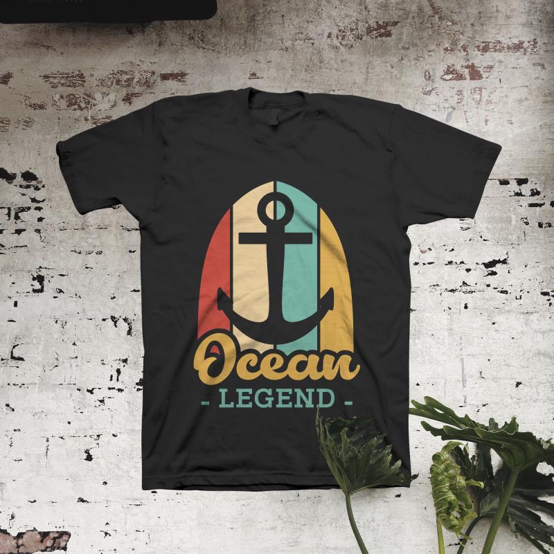 Ocean Legend t shirt designs for print on demand