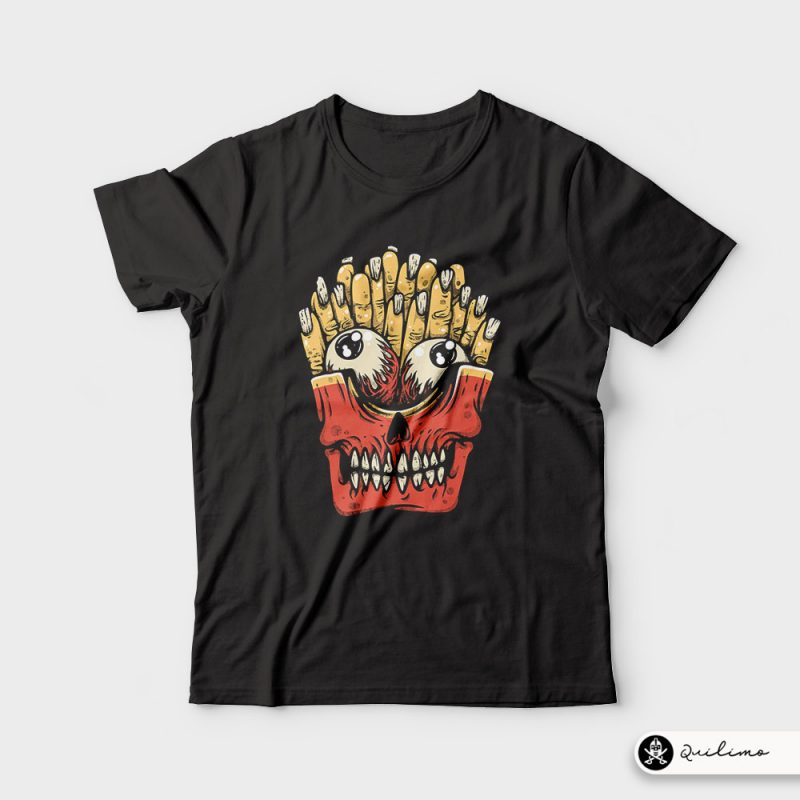 Zombie French Fries t-shirt designs for merch by amazon