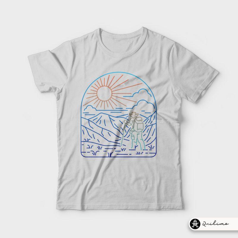 Hiker Line vector shirt designs