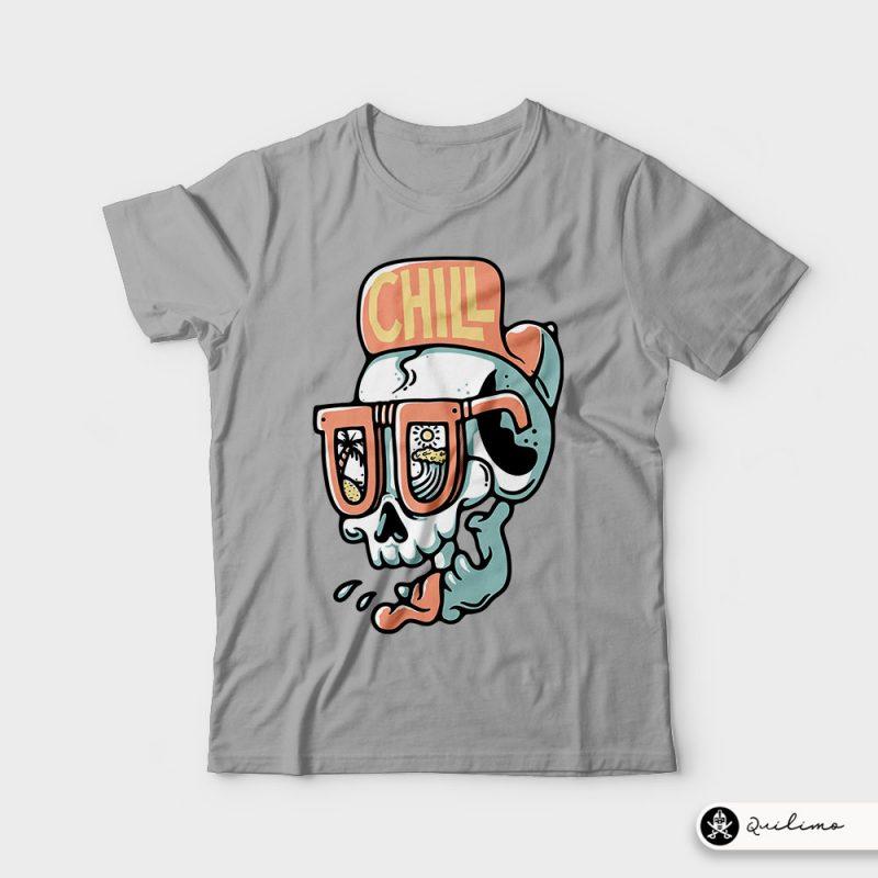 Chill Skull t shirt design graphic