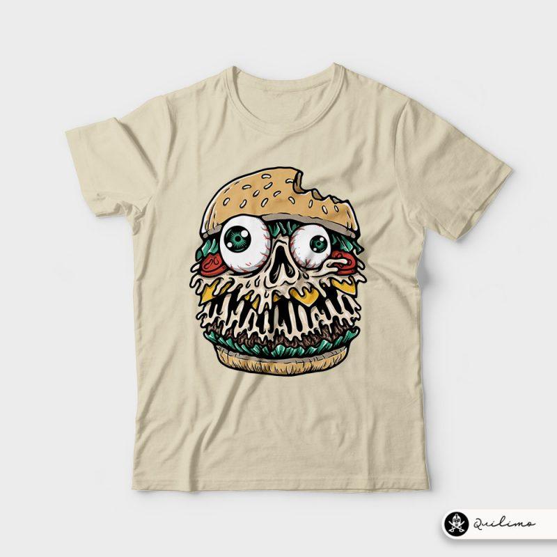 Hamburger Monster tshirt design for merch by amazon