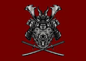Samurai x Wolf T-Shirt Design