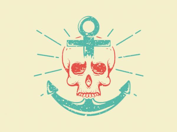 Skull Anchor vector t-shirt design for commercial use