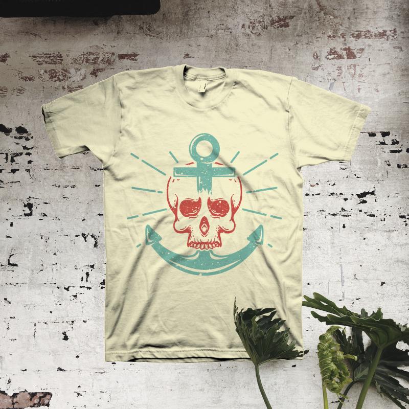 Skull Anchor t shirt designs for print on demand