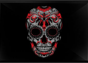 Sugar skull t shirt template vector