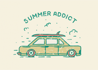 Summer Addict t shirt template vector