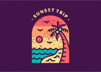 Sunset Trip t shirt template vector