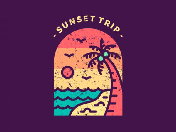 Sunset Trip t shirt template vector