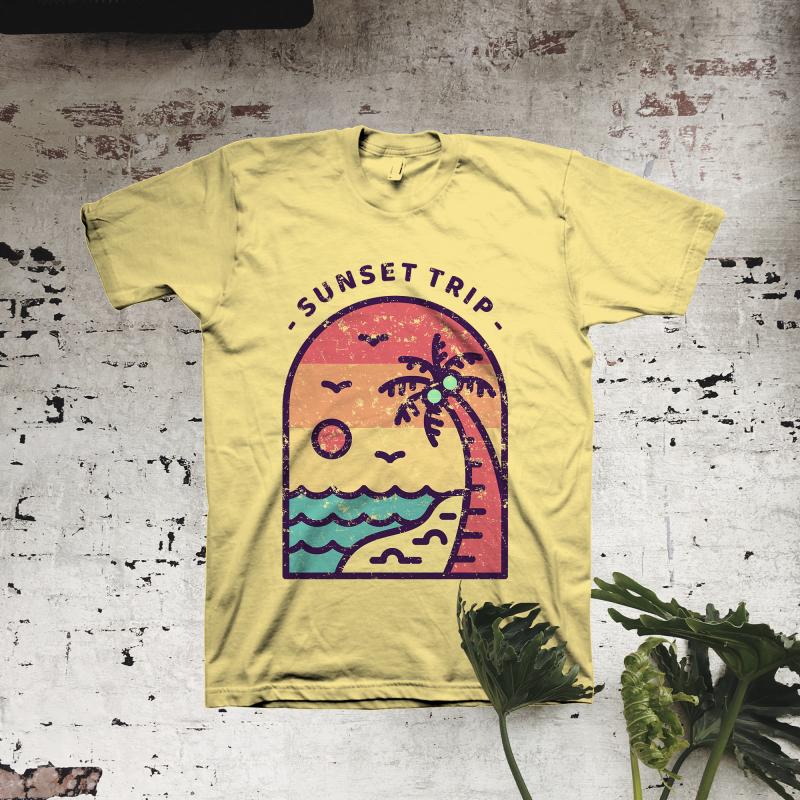 Sunset Trip t shirt design graphic