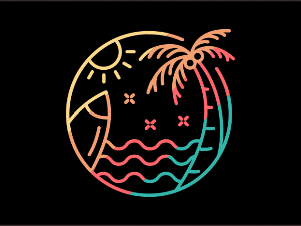 Surf Into Summer commercial use t-shirt design