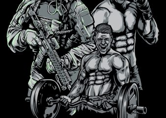 TRIFECTA FIGHTER, ARMY, LIFTER t shirt designs for sale