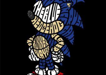 The Blue Hedgehog t shirt design template