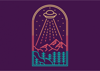 UFO Adventures print ready vector t shirt design