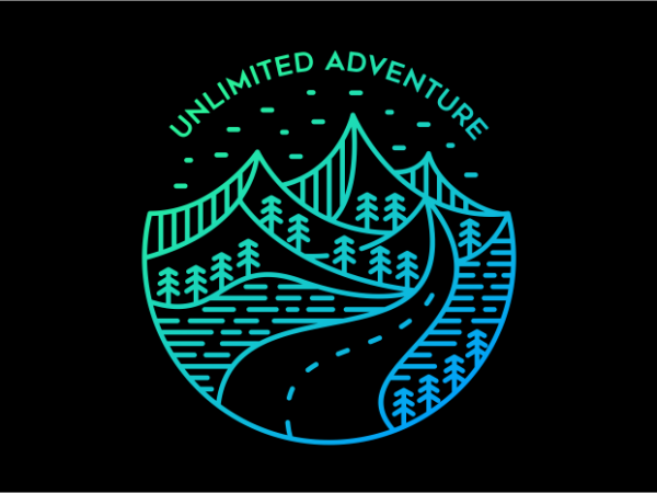 Unlimited Adventure t shirt vector graphic