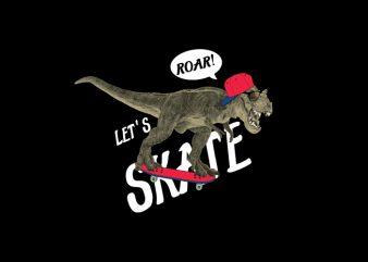 Lets skate print ready vector t shirt design