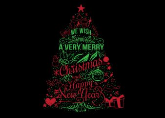 Christmas tree love t shirt vector file