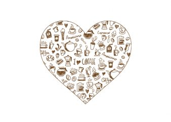 Coffee heart t shirt vector file