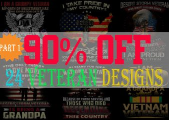 SPECIAL VETERAN BUNDLE PART 1- 24 EDITABLE DESIGNS – 90% OFF-PSD and PNG – LIMITED TIME ONLY!