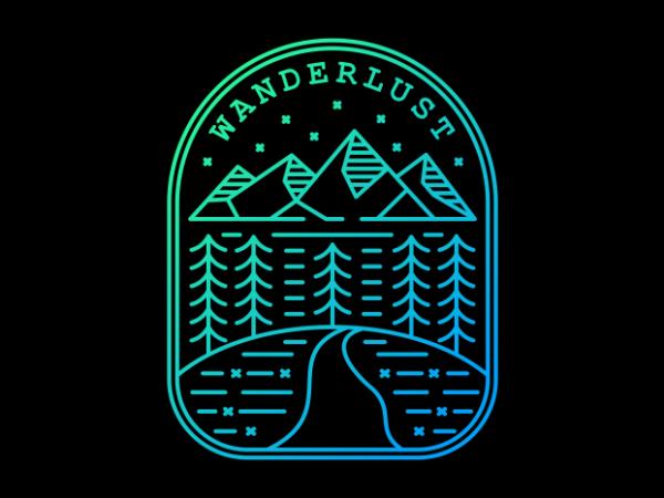 Wanderlust vector t-shirt design template