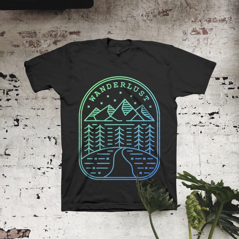 Wanderlust t shirt designs for printify