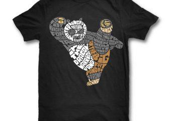 Warrior Panda t shirt design template