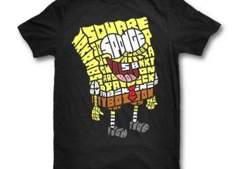 Yellow Sponge t shirt design for download