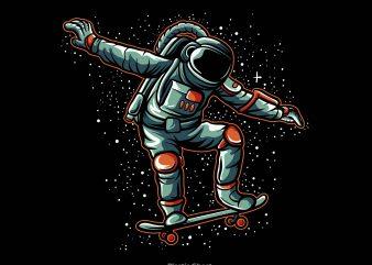 astronaut skateboarding t shirt vector
