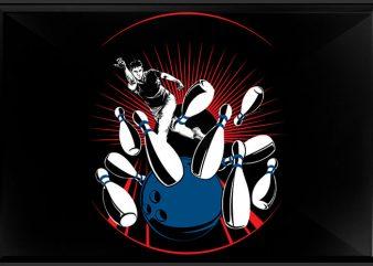Bowling man t shirt template