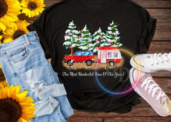 The most wonderful time of the year camping car lights christmas T shirt