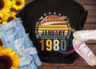 Awesome January 1980 Birthday One of a kind limited editon Vintage T shirt