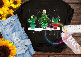 Pine Tree Cactus Merry Christmas Lights T shirt