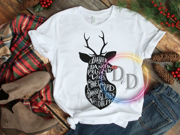 Deer Quotes Christmas Dasher Vintage T shirt Design