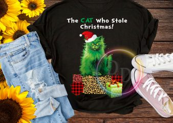 Green Cat who stole Christmas Tshirt