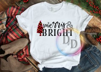 Merry Bright Pine Tree Christmas T shirt Vintage Gifts