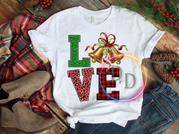 LOVE leopard fabric caro bells Merry Christmas T shirt